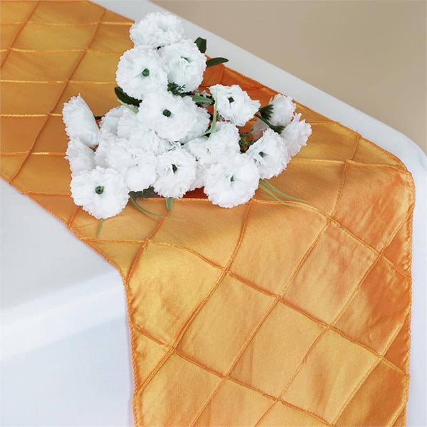 "12""x108"" Orange Taffeta Pintuck Table Runner"