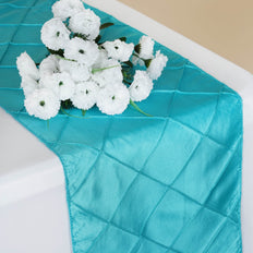 Table Runner Pintuck - Turquoise