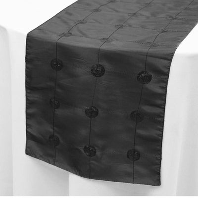 "Wholesale Black Premium Sequin Taffeta Table Runner For Wedding Party Table Decoration -14""x108"""