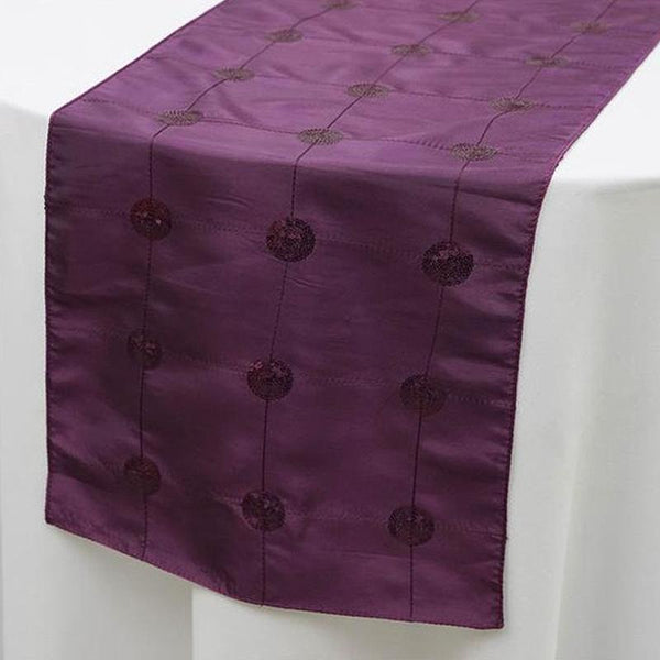 "14""x108"" Eggplant Premium Sequin Taffeta Table Runner - Clearance SALE"