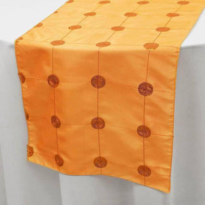 "Wholesale Orange Premium Sequin Taffeta Table Runner For Wedding Party Table Decoration -14""x108"""