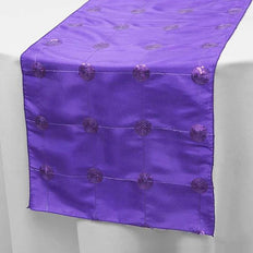 "14""x108"" Purple Premium Sequin Taffeta Table Runner"