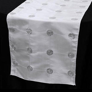 "14""x108"" White Premium Sequin Taffeta Table Runner"