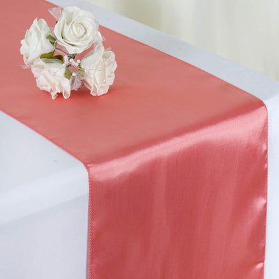 "12"" x 108"" SATIN Runner For Table Top Wedding Catering Party Decorations - Rose Quartz"