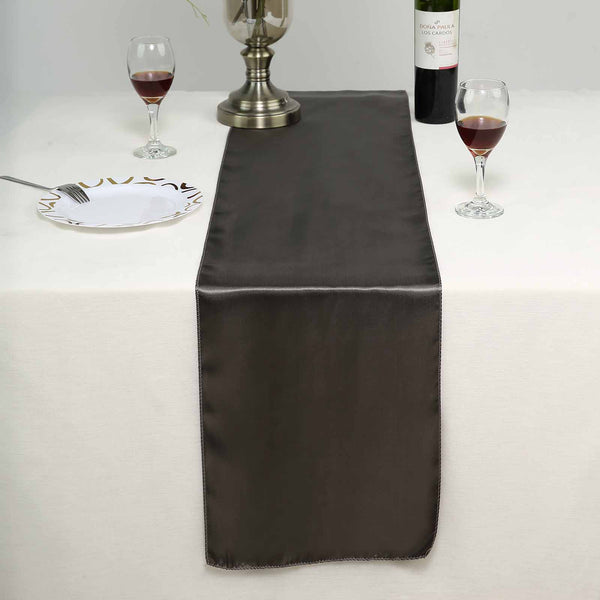 "12""x108"" Charcoal Gray Satin Table Runner"