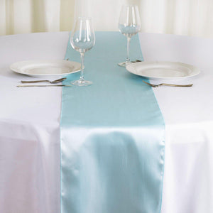 "12"" x 108"" SATIN Runner For Table Top Wedding Catering Party Decorations - Lt. Blue"