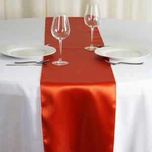 "12"" x 108"" SATIN Runner For Table Top Wedding Catering Party Decorations - Burnt Orange"