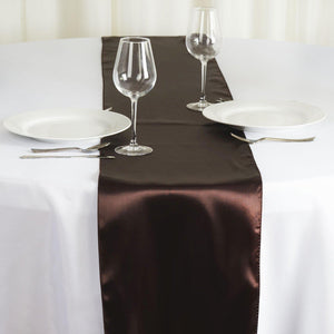 "12"" x 108"" SATIN Runner For Table Top Wedding Catering Party Decorations - Chocolate"