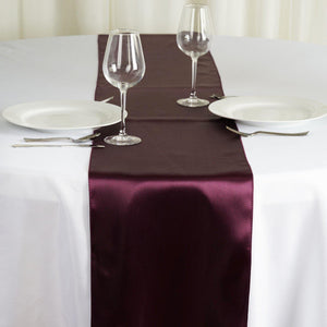 "12"" x 108"" SATIN Runner For Table Top Wedding Catering Party Decorations - Eggplant"