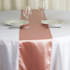 "12""x108"" Dusty Rose Satin Table Runner"