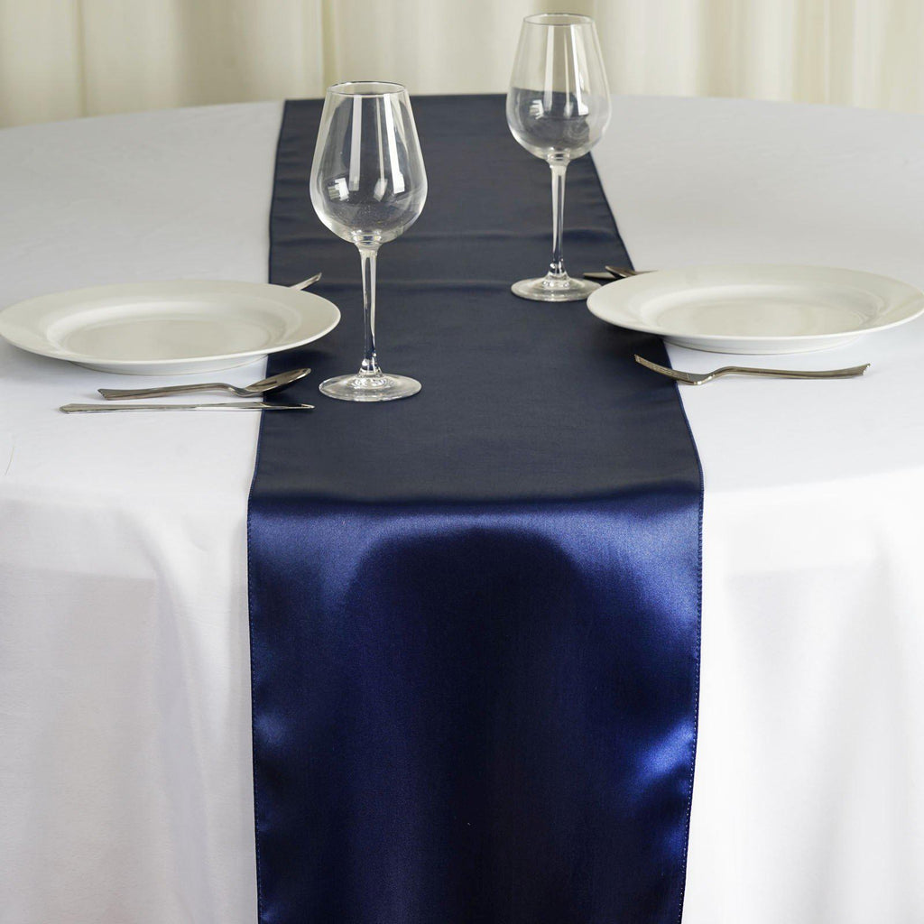 Satin Table Runner Navy Blue Tablecloths Factory