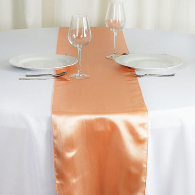 "12"" x 108"" SATIN Runner For Table Top Wedding Catering Party Decorations - Peach"
