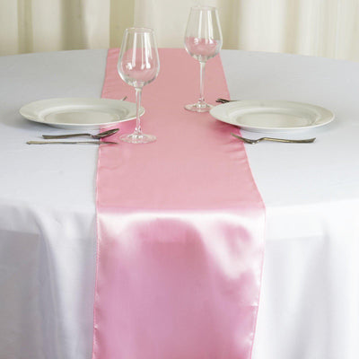 "12"" x 108"" SATIN Runner For Table Top Wedding Catering Party Decorations - Pink"
