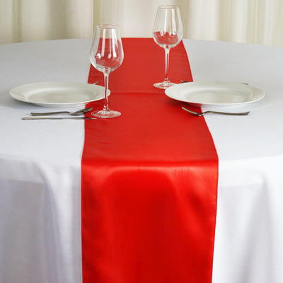 "12"" x 108"" SATIN Runner For Table Top Wedding Catering Party Decorations - Red"