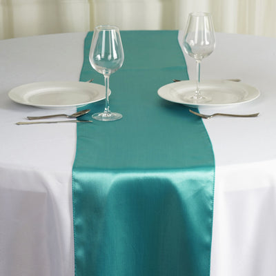 "12"" x 108"" SATIN Runner For Table Top Wedding Catering Party Decorations - Turquoise"