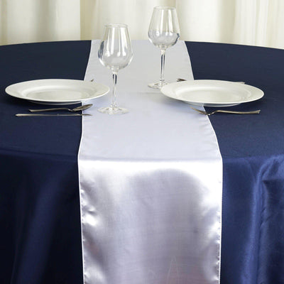 "12"" x 108"" SATIN Runner For Table Top Wedding Catering Party Decorations - White"