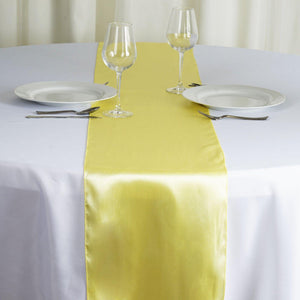 "12"" x 108"" SATIN Runner For Table Top Wedding Catering Party Decorations - Yellow"