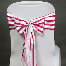 5pc x Lovable Satin Stripes Chair Sash - White / Fushia