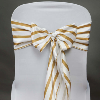 5pc x Lovable Satin Stripes Chair Sash - White / Gold