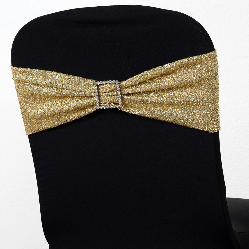5 Pack Champagne Metallic Shiny Glittered Spandex Chair Sashes For