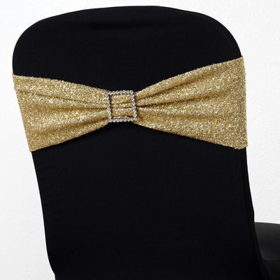 5 Pack | Champagne Metallic Shiny Glittered Spandex Chair Sashes