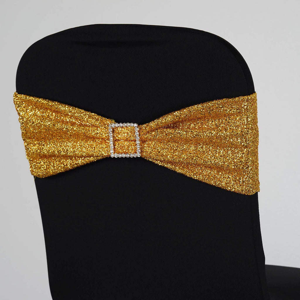 5 Pack Gold Metallic Shiny Glittered Spandex Chair Sashes