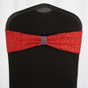 5 Pack | Red Metallic Shiny Glittered Spandex Chair Sashes