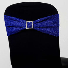 5 Pack Royal Blue Metallic Shiny Glittered Spandex Chair Sashes For Wedding Party