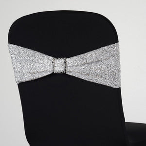 5 Pack Silver Metallic Shiny Glittered Spandex Chair Sashes For Wedding Party