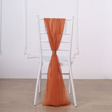 "5 Pack | 22"" x 78"" Burnt Orange DIY Premium Designer Chiffon Chair Sashes"