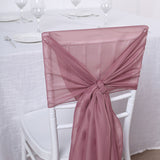 5 Pack | 22x78 inches Mauve DIY Premium Designer Chiffon Chair Sashes