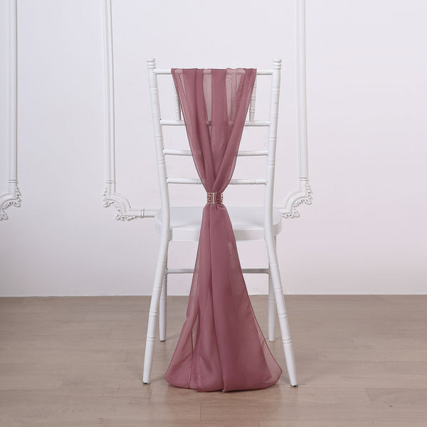 "5 Pack | 22"" x 78"" Mauve DIY Premium Designer Chiffon Chair Sashes"