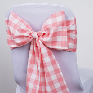 Gingham Chair Sashes | 5 PCS | Rose Quartz/White | Buffalo Plaid Checkered Polyester Chair Sashes