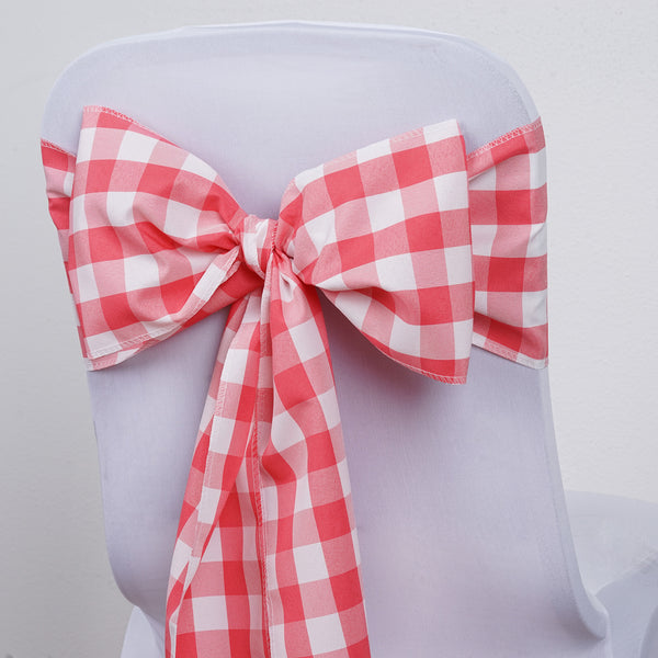 Gingham Chair Sashes | 5 PCS | Coral/White | Buffalo Plaid Checkered Polyester Chair Sashes - Clearance SALE