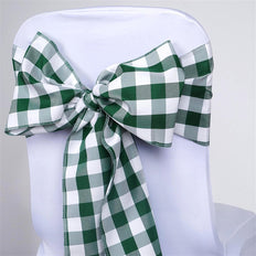 5 PCS Green/White Gingham Polyester Chair Sashes Tie Bows Catering Outdoor Party Decorations - 6x108""