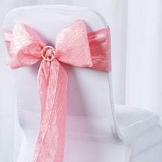 "5 PCS | 6""x106"" Rose Quartz Crinkle Crushed Taffeta Chair Sashes"