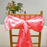 "5 PCS | 6""x106"" Coral Crinkle Crushed Taffeta Chair Sashes - Clearance SALE"