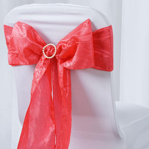 "5 PCS | 6""x106"" Coral Crinkle Crushed Taffeta Chair Sashes"