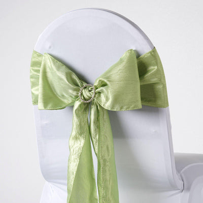 "5 PCS | 6""x106"" Apple Green Crinkle Crushed Taffeta Chair Sashes"