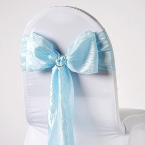 5pc x Chair Sash Taffeta Crinkle - Lt Blue