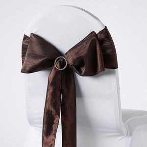 "5 PCS | 6""x106"" Chocolate Crinkle Crushed Taffeta Chair Sashes"