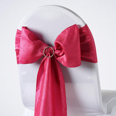 "5 PCS | 6""x106"" Fushia Crinkle Crushed Taffeta Chair Sashes"