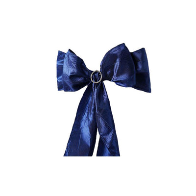"5 PCS | 6""x106"" Navy Blue Crinkle Crushed Taffeta Chair Sashes"