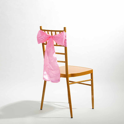 "5 PCS | 6""x106"" Pink Crinkle Crushed Taffeta Chair Sashes"
