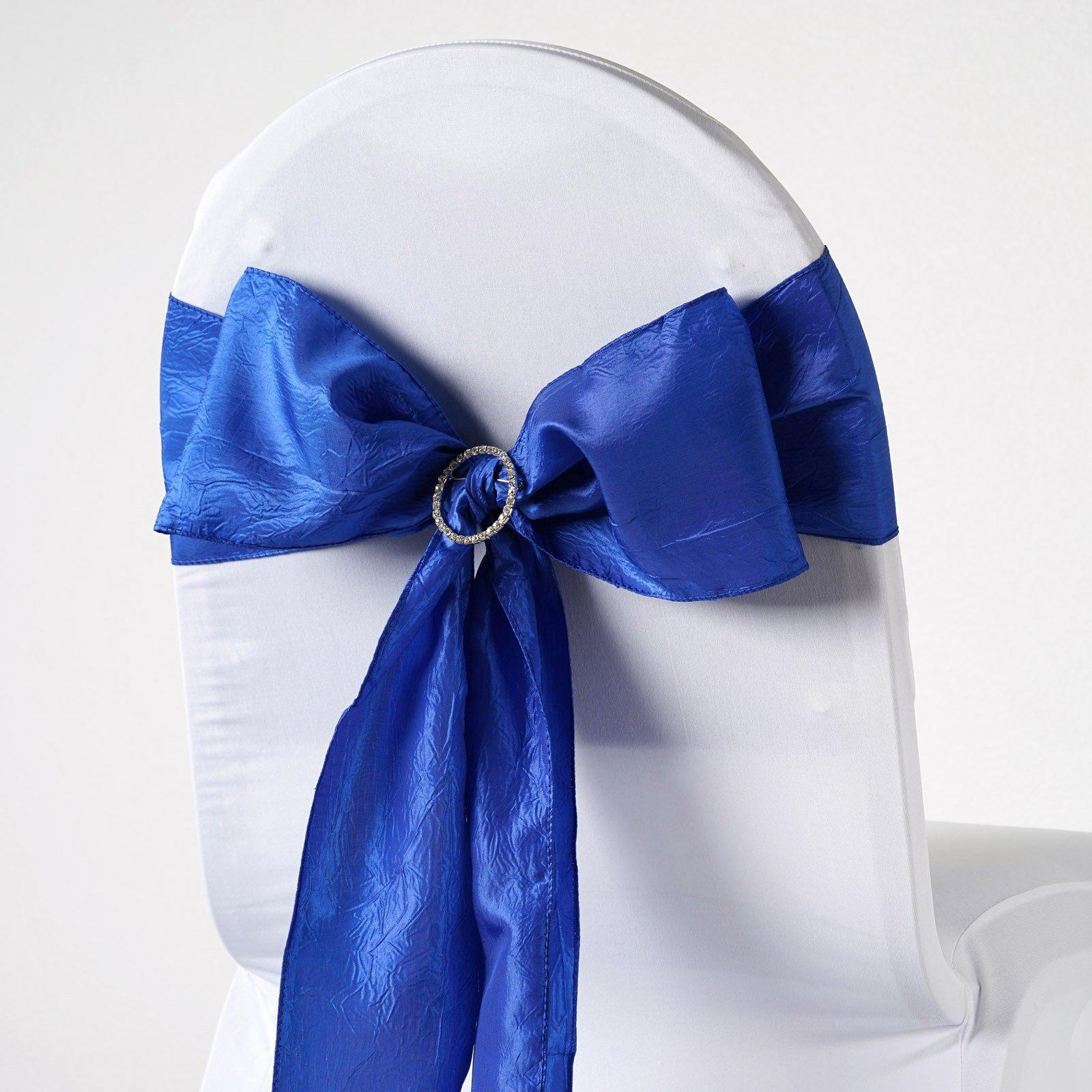 5pcs Royal Blue Taffeta Crinkle Chair Sashes Tie Bows Catering Wedding Party Decorations - 6 & Taffeta Chair Sashes u2013 tableclothsfactory.com