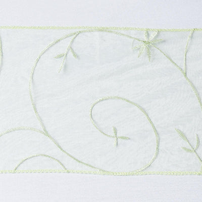 5 PCS | 7 Inch x108 Inch | Apple Green Embroidered Organza Chair Sashes | TableclothsFactory