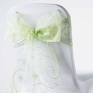 "5 PCS | 7""x108"" Apple Green Embroidered Chair Sashes"