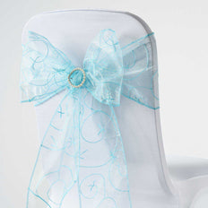 5 PCS | 7 Inch x108 Inch | Light Blue Embroidered Organza Chair Sashes | TableclothsFactory