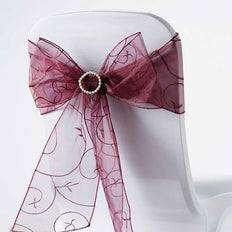 5 PCS | 7 Inch x108 Inch | Burgundy Embroidered Organza Chair Sashes | TableclothsFactory