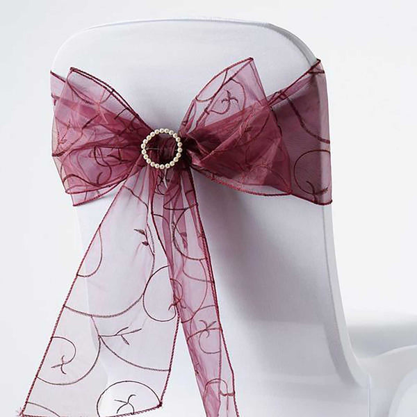 "5 PCS | 7""x108"" Burgundy Embroidered Organza Chair Sashes"